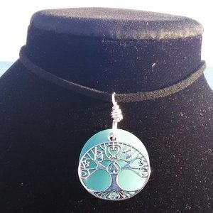 Lite Blue Sea Glass Tree of Life Necklace #B